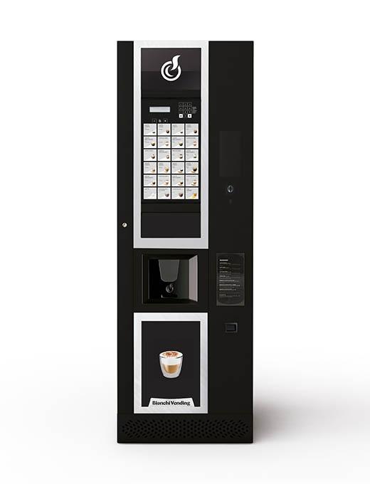 Elegantný automat v čiernom prevedení s dekoratívnymi prvkami a prehľadnými tlačidlami.