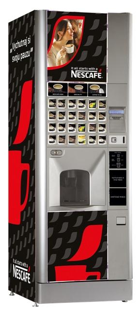 Automat na kávu pre náročných klientov. Ponúka malé aj veľké nápoje a viečka pre kávu so sebou..